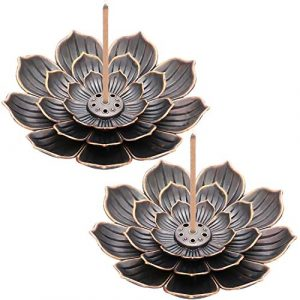 2 Pieces Brass Lotus Holder Lotus Stick Incense Holder Cone Incense Burner with Ash Catcher for Home Office Tea House Accessories