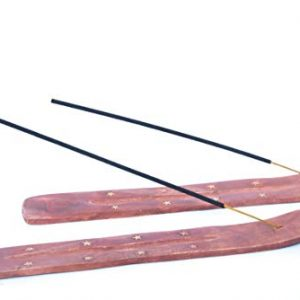 2 x Wooden Incense Stick Holder with brass inlay
