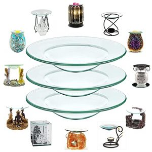 3X MIRUB Replacement Glass Dish for Oil Burner or Tea light candle holder, Replacement glass for wax burner or Wax Melts, spare glass dish for wax burner (12cm – 4.7 Inches)