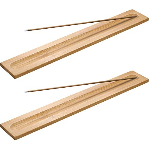 5 Pieces Bamboo Wood Incense Sticks Holder Incense Burner Ash Catcher, 9.06 Inches Long (Wood Color)