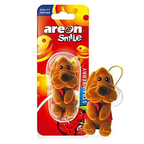 AREON Smile Car Air Freshener Strawberry Funny Hanging Brown Dog Home 3D Pack of 1