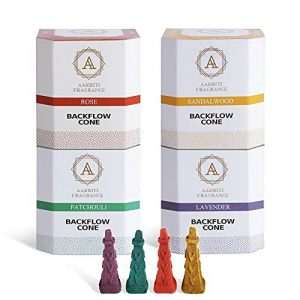 Aakriti Backflow Incense Cones Natural Handwork Waterfall Incense Rose, Sandalwood,Patchoul,Lavender Backflow for Meditation,Aromatherapy & Yoga -100 pcs (Square Pyramid)