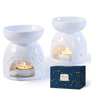 Bochee Wax Melt Burners Essential Oil Burners Set of 2 with Gift Box - Star and Flower Pattern, Aromatherapy Aroma Burner Ceramic Tealight Candle Holder for Home Decor Meditation