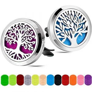 Car Aromatherapy Essential Oil Diffuser, 2 Pieces Car Aromatherapy Diffuser Locket, Air Freshener Vent Clip Locket, Stainless Steel Car Diffuser with 48 Pieces Replacement Felt Pad(Tree Patterns)