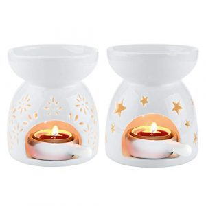 ComSaf Essential Oil Burners Set of 2, Ceramic Wax Melt Burners White Assorted Wax Tarts Holder Candle Scented Diffuser for Aroma Oil and Wax Melts Home Office, 90ml Capacity