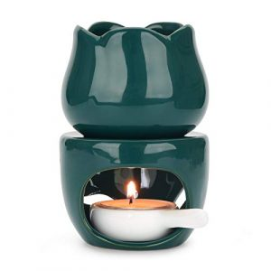 ComSaf Wax Melt Essential Oil Burner with Tealight Spoon, Removable Aromatherapy Burner Green Ceramic Aroma Oil Candle Diffuser Wax Tart Warmer for Home Bedroom Decor Christmas Housewarming Gift