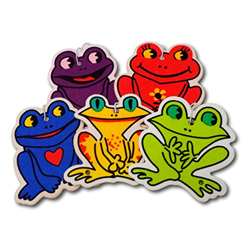 EPOSGEAR 5 Pack Assorted Frog Design Car Air Fresheners - 5 Scent Variety Pack - With Elastic Hanging Loop