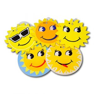 EPOSGEAR 5 Pack Assorted Sun Design Car Air Fresheners - 5 Scent Variety Pack - With Elastic Hanging Loop