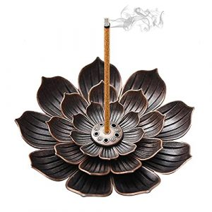 Lotus Stick Incense Holder - Brass Lotus Holder, Detachable Incense Ash Catcher 6 Incense Holes for Office Tea House Meditation, Yoga, SPA and Home Fragrance Decor Accessories