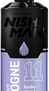Nish Man Eau De Cologne, Aftershave Cologne - 11 Leader Edition, 400Ml Spray Bottle, Made by Nishman, Includes Foicy Packaging