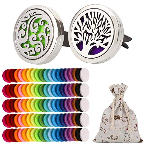 OOTSR 2Pcs Car Aromatherapy Essential Oil Diffuser, Stainless Steel Air Freshener Vent Clip Locket for Car, Living Room, Office, with 102pcs Refill Felt Pads (Tree & Wave Style)