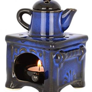 Piquaboo Glossy Teapot Ceramic Oil Burner Stove Style Wax Melts Warmer Diffuser Aromatherapy Gifts (Blue)