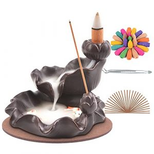 SPACEKEEPER Waterfall Incense Holder, Backflow Incense Burner, Lotus Flower Censer Stick Stand with 120 Incense Cones+30 Incense Sticks, Aromatherapy