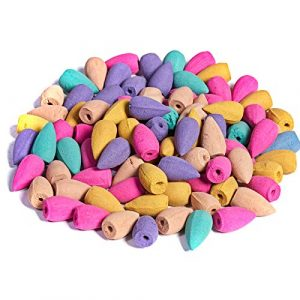 TANNESS 100 Pieces Backflow Incense Cones 10 Mixed Natural Scents Rose Jasmine Lily Mint Lavender and More Kinds of Mixed Natural Backflow Incense Cones