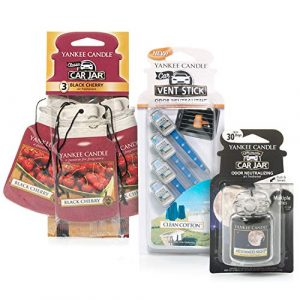 Yankee Candle Air Freshener Bundle with 3 (Black Cherry) 1 Ultimate Car Jar (Midsummer's Night) and 4 Vent Sticks (Clean Cotton), Small