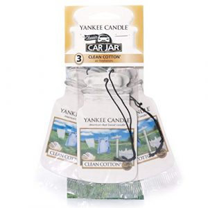 Yankee Candle Car Jar Scented Air Freshener, Clean Cotton, Three Count