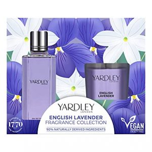 Yardley London Traditional English Lavender Eau de Toilette and Scented Candle, Gift Set (Pack of 2)