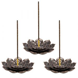 umorismo 3 pieces Retro Lotus Holder Brass Incense Holder Lotus Stick Incense Burner and Cone Incense Holder 6 Incense Holes with Detachable Ash Catcher for Home Office